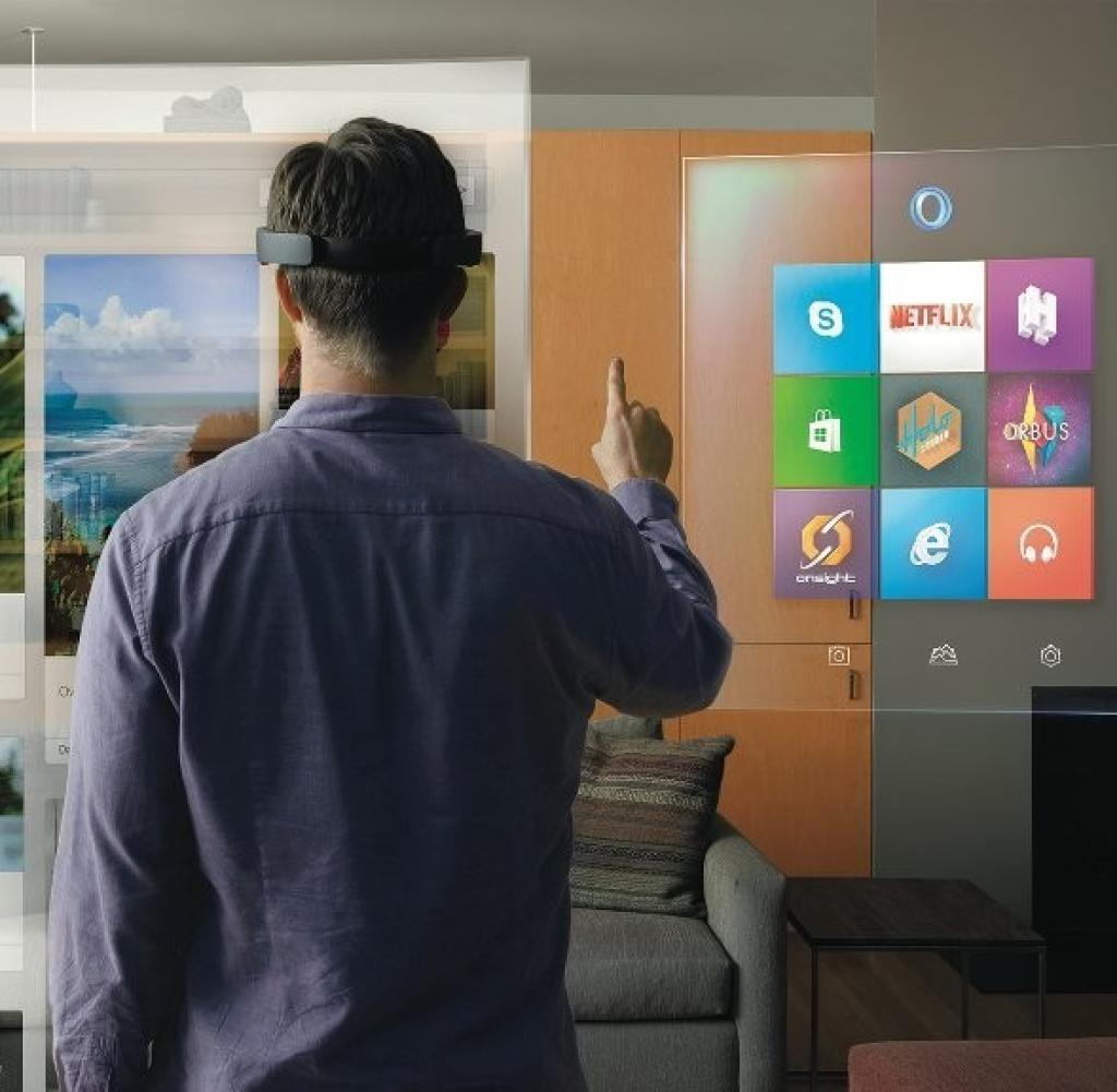 This is the idea of Microsoft: The HoloLense uses VR to project screens, graphics & Co. into